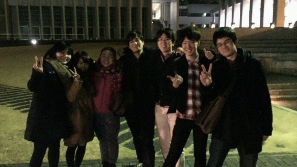大会の後みんなで集合!左から青学、慶應、京都!