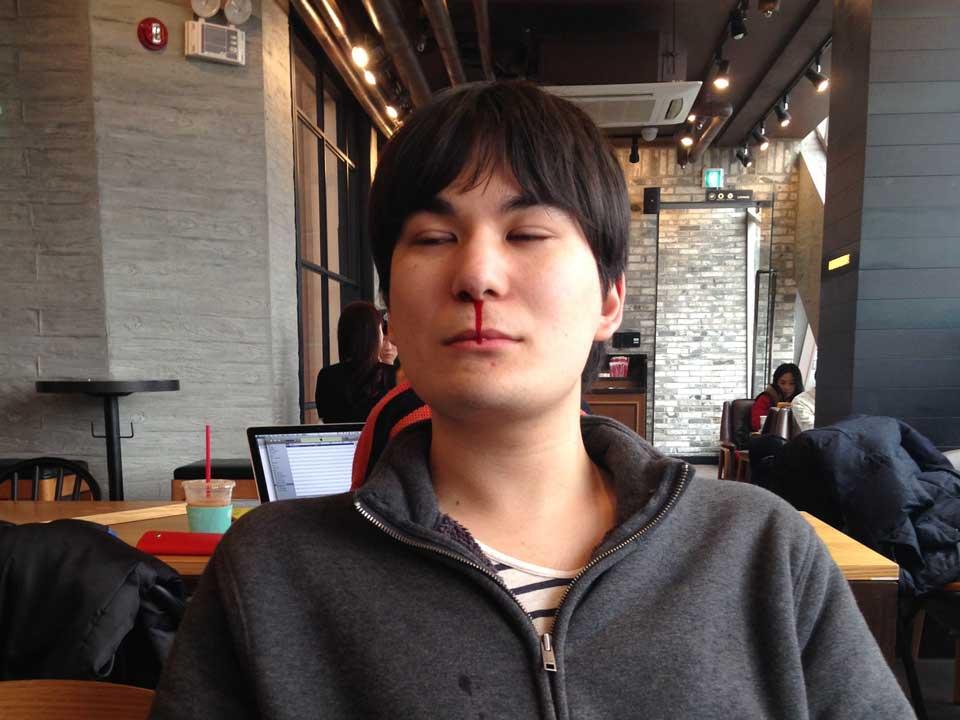 Makoto getting a nosebleed